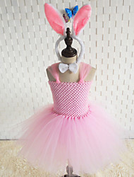 cheap -Rabbit Mascot Easter Bunny Dress Ears Kid's Girls' Dresses Halloween Easter Festival / Holiday Tulle Chinlon White / Pink Carnival Costumes Patchwork
