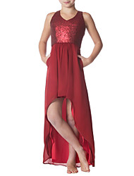 cheap -A-Line Jewel Neck Asymmetrical Chiffon / Sequined Junior Bridesmaid Dress with Ruching by LAN TING BRIDE®