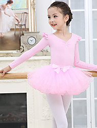 cheap -Kids' Dancewear / Ballet Outfits Girls' Training / Performance Spandex / Mesh Cascading Ruffles Long Sleeve Skirts / Leotard / Onesie