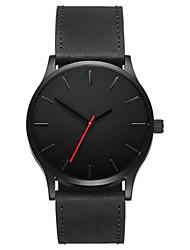 Недорогие -Муж. Наручные часы Кварцевый Кожа Черный / Коричневый Новый дизайн Повседневные часы Крупный циферблат Аналоговый На каждый день Мода Простые часы - Черный Коричневый Черно-белый / Один год