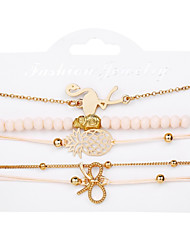cheap -5pcs Women's Layered Butterfly Pineapple Stylish Trendy Alloy Bracelet Jewelry Gold For Gift Street