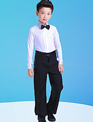 cheap -Latin Dance Kids' Dancewear Top Bow(s) Split Joint Boys' Training Performance Long Sleeve Polyester