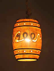cheap -1-Light 14 cm Creative Pendant Light Resin Resin Drum Painted Finishes Retro / Country 110-120V / 220-240V