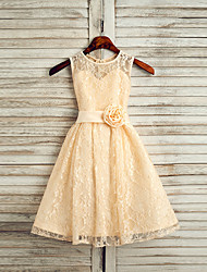 cheap -A-Line Tea Length Wedding / First Communion / Pageant Flower Girl Dresses - Lace / Satin Sleeveless Jewel Neck with Sash / Ribbon