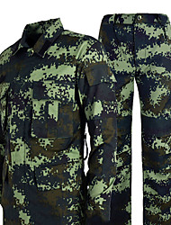 cheap -Men's Camo Hiking Shirt / Button Down Shirts Long Sleeve Outdoor Quick Dry Wear Resistance Clothing Suit Autumn / Fall Spring Poly&Cotton Blend Hunting Camping / Hiking / Caving Indoor Camouflage