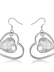 cheap -Women's Drop Earrings Earrings Classic Heart Hollow Heart Stylish Trendy Fashion Elegant Silver Plated Earrings Jewelry Silver For Birthday Engagement Gift Daily Date 1 Pair