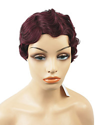 cheap -Human Hair Capless Wigs Remy Human Hair Wavy Side Part / Short Hairstyles 2019 Classic / Sexy Lady / For Black Women Burgundy Short Capless Wig Brazilian Hair Women's