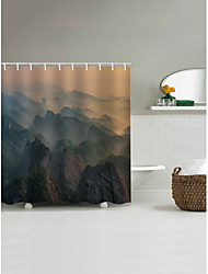 cheap -Shower Curtains & Hooks Country Polyester Machine Made Waterproof Bathroom