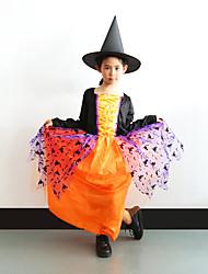 Недорогие -ведьма Платья Косплэй Kостюмы Детские Девочки Косплей Хэллоуин Хэллоуин Карнавал Маскарад Фестиваль / праздник Полиэстер Оранжевый Карнавальные костюмы Пэчворк