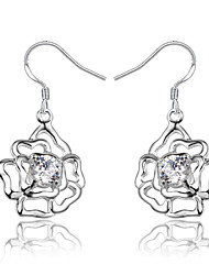 cheap -Women's Clear Cubic Zirconia Drop Earrings Hollow Out Flower Shape Trendy Fashion Cute Elegant bridesmaid Silver Plated Earrings Jewelry Silver For Birthday Engagement Gift Daily Date 1 Pair