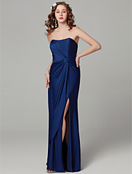 cheap -Sheath / Column Strapless Floor Length Satin Bridesmaid Dress with Split Front