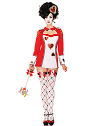 cheap -Burlesque Clown Queen of Hearts Masquerade Adults' Women's Cosplay Halloween Halloween Carnival Masquerade Festival / Holiday Polyster Red Carnival Costumes Plaid / Check
