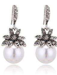 cheap -Women's Pearl Earrings Classic Flower Classic Vintage Elegant Pearl Imitation Diamond Earrings Jewelry White / Gray / Champagne For Party Ceremony Festival 1 Pair