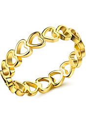 cheap -Women's Band Ring 1pc Yellow Copper Gold Plated Geometric Stylish Luxury European Party Gift Jewelry Hollow Out Heart Cute