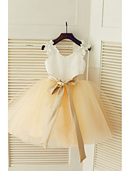 cheap -A-Line Tea Length Wedding / First Communion / Pageant Flower Girl Dresses - Satin / Tulle Sleeveless Strapless with Belt