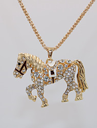 cheap -Women's Pendant Necklace Statement Necklace Necklace Classic Horse Statement Unique Design European Trendy Gold Plated Chrome Gold 70 cm Necklace Jewelry 1pc For Carnival Masquerade Holiday Birthday
