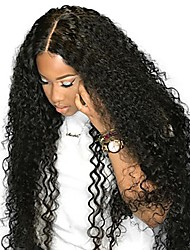 cheap -Remy Human Hair Human Hair 4x13 Closure Lace Front Wig Deep Parting style Peruvian Hair Curly Natural Black Wig 250% Density with Baby Hair Natural Hairline African American Wig For Black Women With