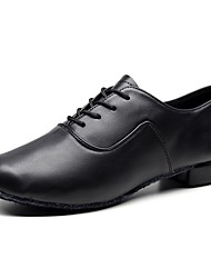 cheap -Men's Latin Shoes Ballroom Shoes Line Dance Oxford Thick Heel Black Lace up
