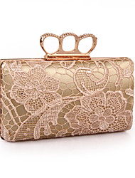 cheap -Women's Embroidery / Lace Polyester Evening Bag Floral / Botanical Black / White / Champagne / Fall & Winter