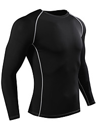 cheap -Men's Women's Compression Shirt Long Sleeve Compression Base layer T Shirt Top Plus Size Lightweight Breathable Quick Dry Soft Sweat-wicking Black Sky Blue Silver Fleece Lycra Winter Road Bike