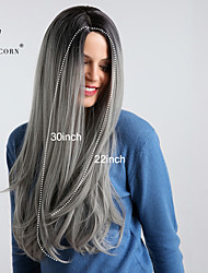 cheap -Synthetic Wig kinky Straight Middle Part Wig Very Long Black / Grey Synthetic Hair 30 inch Women's Synthetic Ombre Hair Highlighted / Balayage Hair Dark Gray BLONDE UNICORN / Natural Hairline
