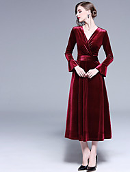 cheap -A-Line V Neck Midi Velvet Bridesmaid Dress with Ruching
