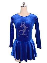 cheap -Figure Skating Dress Women's Girls' Ice Skating Dress Blue Flower Patchwork Spandex Micro-elastic Competition Skating Wear Handmade Patchwork Classic Long Sleeve Ice Skating Figure Skating