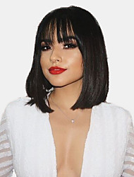 cheap -Human Hair Capless Wigs Human Hair Natural Straight Bob / Short Hairstyles 2019 Fashionable Design / Hot Sale / Comfortable Black Medium Length Capless Wig Women's / Natural Hairline