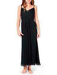cheap -Sheath / Column Spaghetti Strap Ankle Length Chiffon Junior Bridesmaid Dress with Pleats by LAN TING BRIDE®