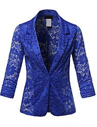 cheap -Women's Spring / Summer / Fall Blazer Notch Lapel Polyester Lace / Ruffle / Fashion Black / White / Purple
