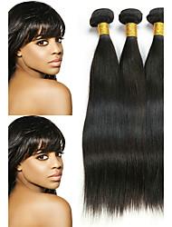 cheap -3 Bundles Brazilian Hair Straight Virgin Human Hair Natural Color Hair Weaves / Hair Bulk Bundle Hair One Pack Solution 8-28 inch Natural Color Human Hair Weaves Smooth Best Quality Lovely Human Hair