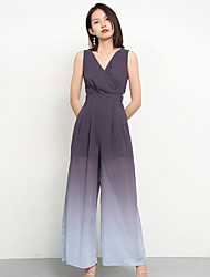 cheap -Jumpsuits V Neck Ankle Length Chiffon Bridesmaid Dress with Bandage