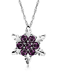 cheap -Women's Cubic Zirconia Pendant Necklace Snowflake Elegant Sweet Cute Chrome White Purple Red Blue 46 cm Necklace Jewelry 1pc For Wedding Gift Festival