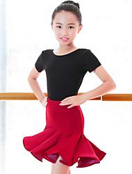 cheap -Latin Dance / Kids' Dancewear Outfits Girls' Performance Milk Fiber Ruching Short Sleeve High Skirts / Leotard / Onesie