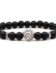 cheap -Men's Women's Silver Gold Brown Natural Stone Bead Bracelet Beaded Cathedral Animal Cheap Hip-Hop Stone Bracelet Jewelry Silver / Brown / Green For Wedding Ceremony