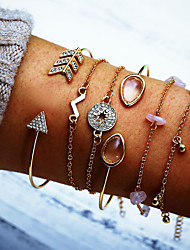 cheap -Women's Chain Bracelet Cuff Bracelet Pendant Bracelet Layered Pear Arrow Simple European Trendy Fashion Stone Bracelet Jewelry Gold For Party Holiday Going out Birthday / Imitation Diamond