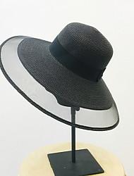Недорогие -Жен. Классический Соломенная шляпа Полиэстер,Однотонный Черный Белый