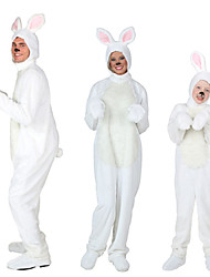 cheap -Rabbit Mascot Easter Bunny Cosplay Costume Vest Kid's Adults' Men's One Piece Cosplay Easter Festival / Holiday Polyster White Carnival Costumes Solid Colored