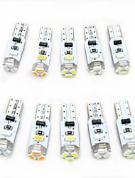 cheap -10pcs T5 Car Light Bulbs 0.5 W SMD 3014 80 lm 5 LED Interior Lights For universal All years