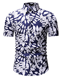 cheap -Men's Floral Slim Shirt White / Gold