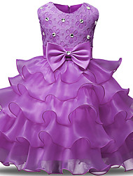 cheap -Princess Long Length Wedding / Party / Pageant Flower Girl Dresses - Lace / Tulle Sleeveless Jewel Neck with Bows / Belt / Bow(s)