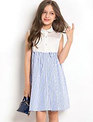 cheap -Kids Girls' Cute Striped Sleeveless Knee-length Dress Blue