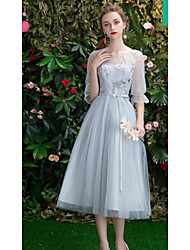 cheap -A-Line Off Shoulder Long Length Tulle Bridesmaid Dress with Embroidery