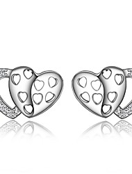 cheap -Women's Clear Cubic Zirconia Stud Earrings Earrings Classic Heart Trendy Romantic Fashion Elegant Silver Plated Earrings Jewelry Silver For Birthday Engagement Gift Daily Date 1 Pair