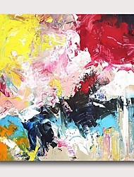 cheap -Oil Painting Hand Painted - Abstract Comtemporary Modern Stretched Canvas