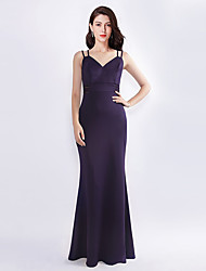 cheap -A-Line Plunging Neck Floor Length Silk Bridesmaid Dress with Sash / Ribbon