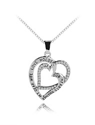 cheap -Women's Pendant Necklace Classic Heart Letter Trendy Sweet Fashion Zircon Chrome Silver 45+5 cm Necklace Jewelry 1pc For Gift Daily Holiday