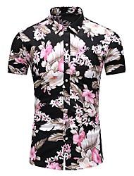cheap -Men's Plus Size Cotton Slim Shirt - Floral Print Classic Collar Black / Short Sleeve