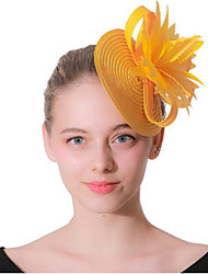 cheap -Women's Ladies Tiaras Fascinators For Wedding Party / Evening Prom Princess Feather Fabric Yellow