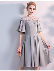 cheap -A-Line Jewel Neck Knee Length Chiffon Bridesmaid Dress with Lace